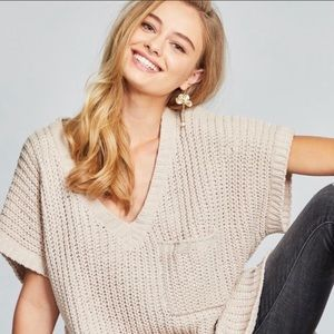 POL creamy beige chenille v-neck sweater size L